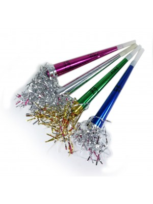PARTY HORN WIITH TINSEL(4)