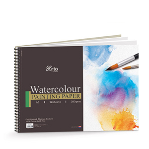 WIRE-O WATER COLOR BOOK, 200GSM 100% COTTON