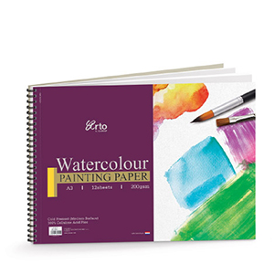 WIRE-O WATER COLOR BOOK, 200GSM 100% CELLULOSE