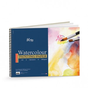 WIRE-O WATER COLOR BOOK, 300GSM 100% CELLULOSE