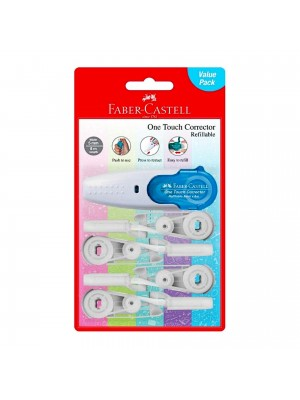 FABER CASTELL  169215 ONE TOUCH CORRECTOR+4REFILL
